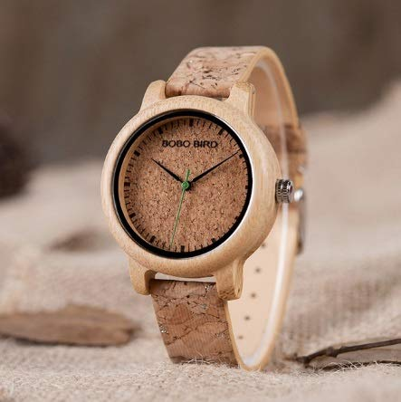 GKXAZ Handgemachte Cork Strap Bambus Frauen-Uhr Box Accept Logo Tropfen Shippi (Color : Womens)