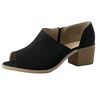 Women Low Heel Ankle Booties Slip On Vegan Suede Leather Cut Out Chunky Block Stacked Peep Toe Ankle Boots Shoes Black