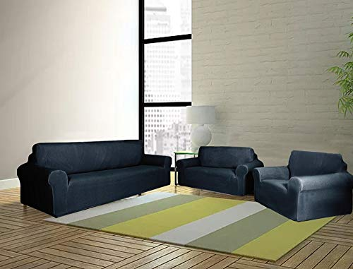 Sapphire Home 3-Piece SlipCover Set for Sofa Loveseat Couch Arm Chair, Form fit Stretch, Wrinkle Free, Furniture Protector Set for 3/2/1 Cushion, Polyester Spandex,3pc Slipcover, Dark Blue
