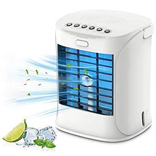 Enfriador de aire personal, aire acondicionado de enfriamiento portátil 4 en 1 enfriadores evaporativos, humidificador y purificador, 3 velocidades ajustables, para habitación, oficina, hogar