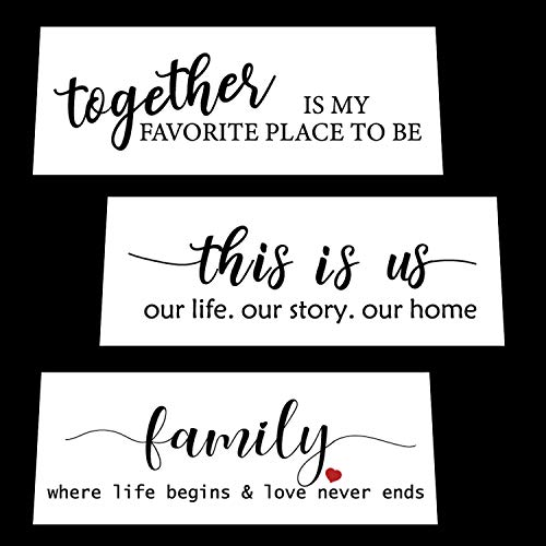 Funny Family Sign Stencil Set for Painting on Wood - Create Beautiful Wood Stencil Signs with This Reusable Word Stencil  Set of 3 Individual Stencils for Home Decor & DIY Projects