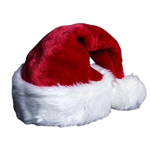 Bonnet de Père Noël Chapeau Noel pour Les Fête Doux Adulte Unisexe Rouge 17.7*12.6 In (45*32 cm)