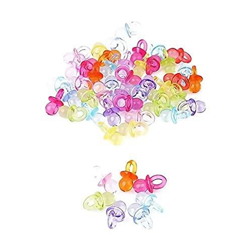 chupetes de la Suerte,100 PCS Mini Chupete Deco Chupetes Acrílicos Decorativos Transparente Bienvenida al Bebé Mesa Confeti para Baby Shower Bbautizo Cumpleaños Fiesta Infantil Mmulticolor