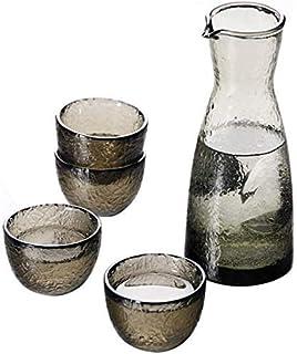 冷酒・温酒・焼酎・焼酎用5ピース酒器、和風ガラス酒器、独特のハンマー風合いデザイン