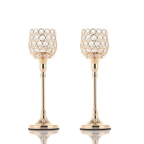 VINCIGANT Candelabros de Cristal Dorado Ideal para Bodas/Estreno de Una Casa Hogar, Decoración navideña, Juego de 2
