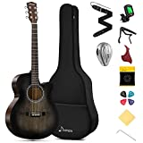 Donner 40 Inch Acoustic Guitar Cutaway Acustica Guitarra Beginner Starter Bundle Kit with Pickup Padded Bag Tuner Capo Truss Rod Strap Mini Jumbo for Adult Travel Teen Right Hand Black Brown DAJ-110CD