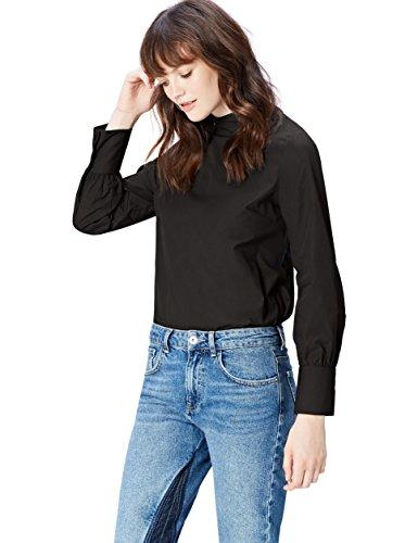 Amazon-Marke: find. Bluse Damen Popline-Oberteil mit Stehkragen, Schwarz (Black), 40, Label: L