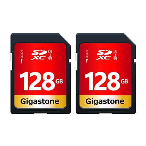 Gigastone 128 GB SDXC Speicherkarte 2er-Pack, UHS-I U1 Klasse 10, bis zu 80 MB/Sek. für Digitalkameras Canon Sony Nikon Olympus PC