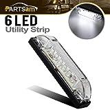 Partsam 4' Ultra-Thin-Line LED Utility Light Bar 6Diode Sealed Clear Lens White 12V