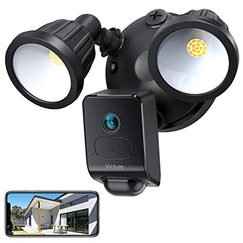 Victure 1080P AI Floodlight Camera, HD Security Camera Outdoor with Motion-Activated Detection, Smart Alarm, IP55 Waterproof, Night Vision, Two-Way Audio Black