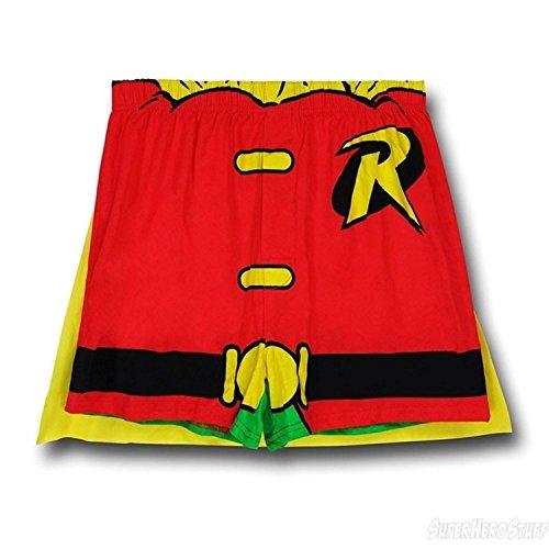 DC Comics Superhero Caped Boxer Shorts (Medium, Robin Red)