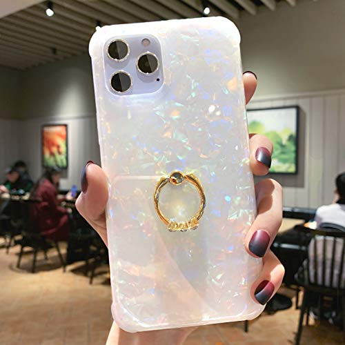 Facweek iPhone 12 Case Pearl,iPhone 12 Case Cute Holographic Sparkle with 360 Degree Rotating Ring Kickstand, Edge 4 Corner Reinforced & Shockproof Hard Back + Soft TPU Bumper Case for 6.1'