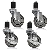Houseables Kitchen Table Caster Wheel, 4 Pk, 4 Inch, Black, Polyurethane, 300 LB Load Capacity Per Wheel, with...