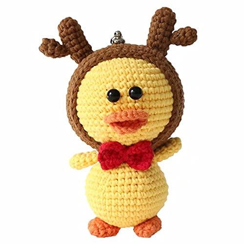 YST Paquete de material de adorno de muñeca de pato amarillo hecho a mano de ganchillo DIY bolsa de lana de algodón agradable a la piel