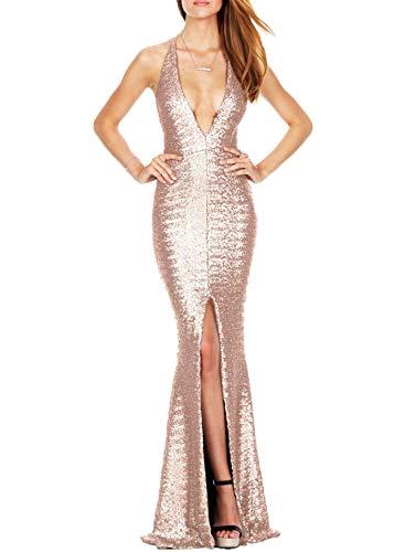 GZHOUSE Donna Spaghetti Strap Deep V Neck Elegante Senza Spalline Abiti da Sera Laterali Sexy Bodycon Maxi Sparkly Paillettes Abiti da Sposa (X-Large, Champagne)