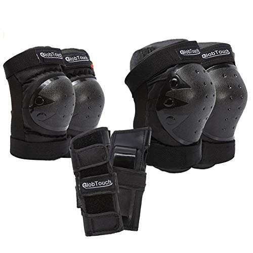 GLOBTOUCH Child Knee Pads Elbow Pads Kids Wrist Guards 6 in 1 Protective Gear Set Toddler to Adult for Multi Sports Skateboarding Inline Roller Skating Cycling Biking Bicycle Scooter-black-m