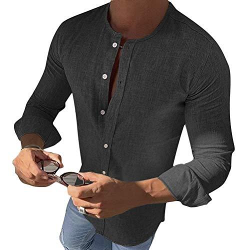 Minetom Hemd Herren Leinenhemd Herren Freizeithemd Henley 3/4 Ärmellänge Regular Fit Kragenloses Shirt A Schwarz L