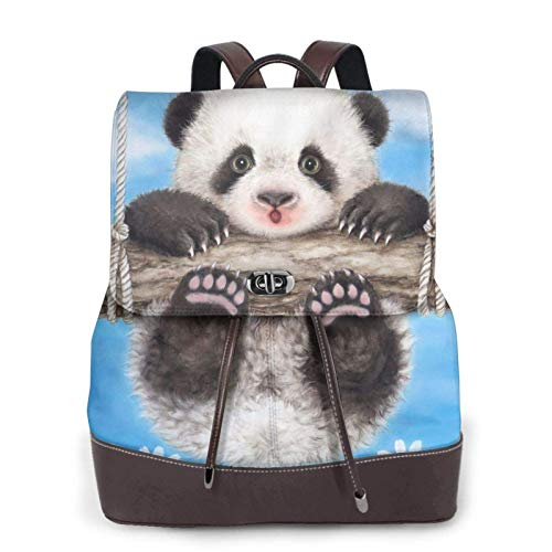 Mochila de piel para mujer, estilo casual, duradera, para escuela, columpio, diseño de panda, bolso de viaje