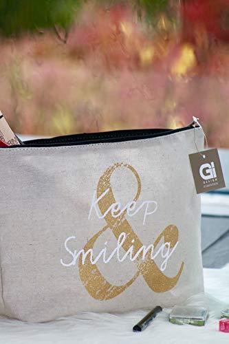 Kosmetiktasche, MakeUp Tasche wasserabweisend, Kosmetiktäschchen, ideal in die Handtasche, toller Ordnungshelfer (Keep Smiling)