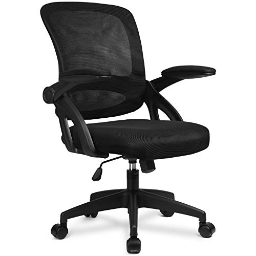 ComHoma Office Chair Ergonomic Desk Chair Home Office Desk Chairs with Flip Up Armrest, Mid Back Mesh Task Chair Swivel Chair with Smooth Casters, Black