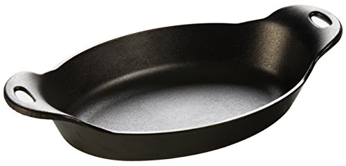 Lodge HOSD Heat Enhanced and Seasoned Cast Iron, 36-Ounce Oval Serving Dish, 36 ounce, Black