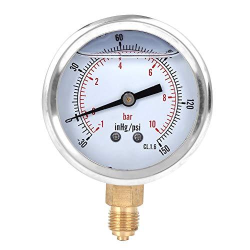Oumefar Radialmanometer 1 / 4BSP Y60 Standard-Vakuummanometer Transparente Zifferblattabdeckung Hohe Empfindlichkeit für Öl für Bergbaukraft