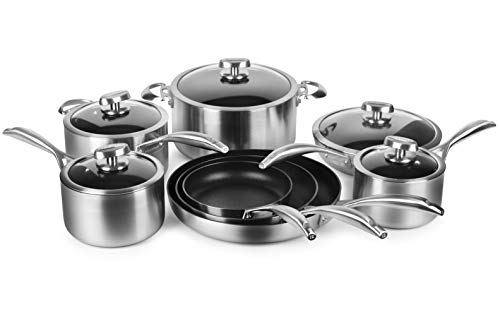 Scanpan CS+ 13 Piece Stainless Steel Nonstick Cookware Set with Stratanium Plus Nonstick - Made in Denmark Coating