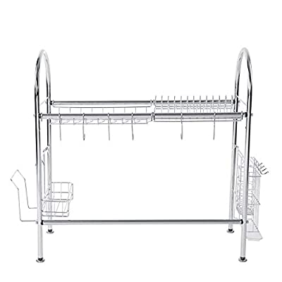 Dish Drying Rack, Stainless Steel Adjustable Plates Storage Rack Utensil Holder Over the Sink Kitchen Storage Shelf from