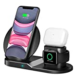 QI-EU Wireless Charger, 3 in 1 Wireless Charging Station with iWatch Stand for iWatch, Qi Fast Charger Stand for iPhone 12/12 Pro/SE/11/11 Pro Max/XR/XS Max/XS/X/8/8P, Airpods Pro/2