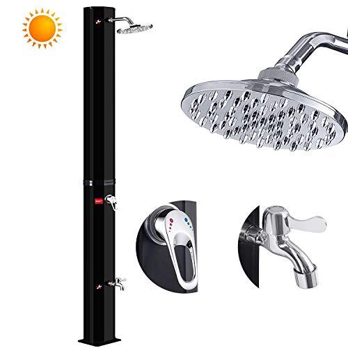 Douche solaire Hengmei - 35 litres - Douche de jardin solaire - Douche de piscine avec pied et pommeau de douche à effet pluie - Température de l'eau réglable 60 °C Noir
