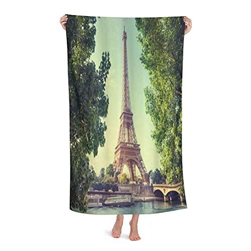 De Gran Tamaño Microfibra Ultra Suave Toalla de Baño Manta,París Torre Eiffel Imagen Río Sena Francia Imagen histórica Europea,Toalla de Playa Hoja de Viaje Piscina Cámping Deportes,32' x 52'