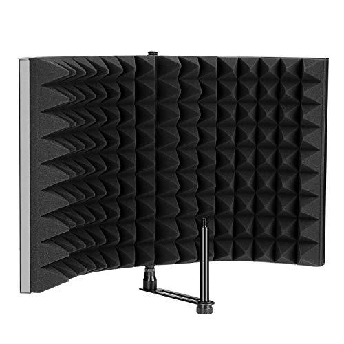 Escudo de aislamiento del micrófono, Panel plegable con reflector de espuma absorbente AGPtEK, Plegable, ajustable y duradero, Estudio de grabación. Escudo de aislamiento para micrófono (negro)