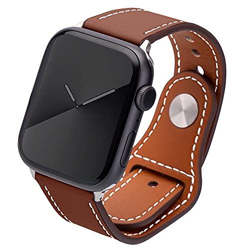 Kluck Correa de piel para Apple Watch Series 6 5 4 3 2 1 SE 44 mm 42 mm 38 mm 40 mm iWatch, correa de cuero para hombre y mujer, correa de repuesto (42 mm/44 mm), color marrón
