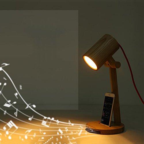 uus Lampe de bureau en bois massif téléphone creux musique amplification chambre lampe de chevet E27 ampoule base 17 * 42Cm (économie d'énergie A +) (Couleur : Warm light17*42cm)