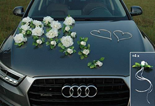 Traumschmuck Auto Schmuck Braut Paar Rose Deko Dekoration Autoschmuck Hochzeit Car Auto Wedding Deko Ratan Girlande PKW (Weiß)