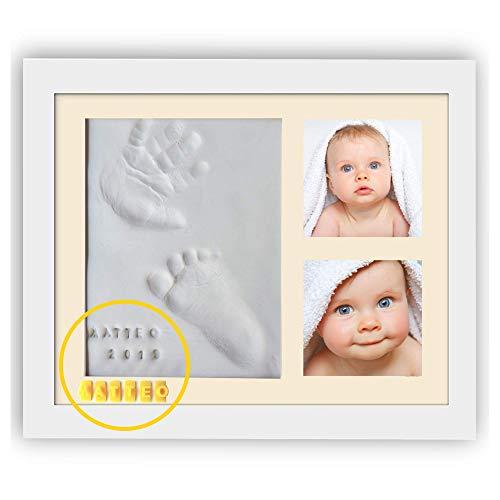 PITI COT Marco Huellas Bebé | Letras Números y 4 Marcos de Colores | Kit para Huella de Pie e Manos del bebe | Regalos Originales para Bebès Recien Nacidos Bautizo Niño y Niña | Decoracion Habitacion