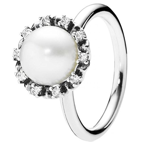 Pandora Everlasting Grace Stackable Ring, Pearl & Clear CZ 190916P-50