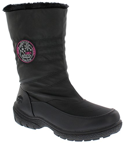 Totes Women's Cheryl Black Waterproof Synthetic Sole Fur Snow Boots - 9 US M