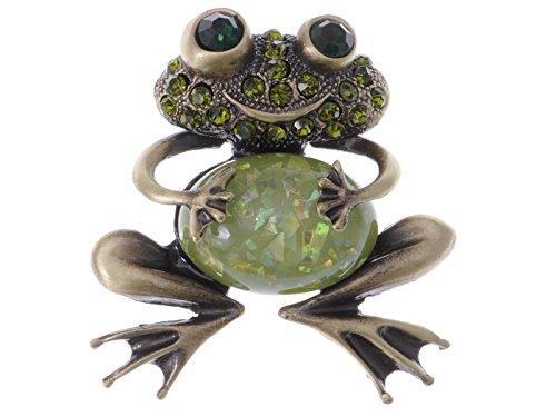 Alilang Smiley Frog Brooch Brass Tone Peridot Green Colored Rhinestones Animal Brooches Pin