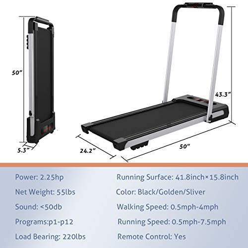 2 in 1 Folding Treadmill, 2.5HP Under Desk Electric Treadmill,Workout Foldable Running Machine Portable Compact Treadmill,Folding Treadmill for Home Under Desk Electric Treadmill,Installation-Free