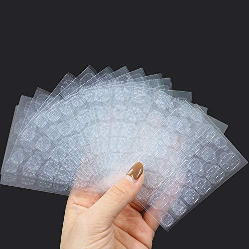 360 Pestañas Adhesivo de Pegamento para Uñas Postizas de Doble Cara, Pegatinas de Pegamento de Uñas Falsas Transparentes, Pegamento Falsas Uñas Adhesivas, Cinta de Gel para Uñas Postizas (15 Hojas)