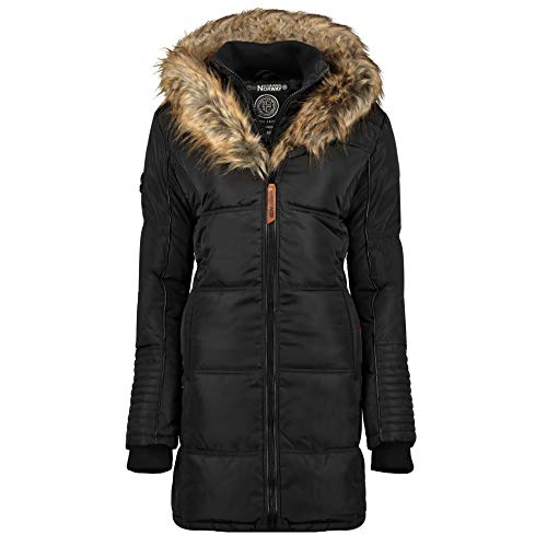 Geographical Norway Beautiful - Piumino da donna, con cappuccio in pelliccia nero Small