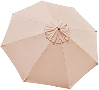 9-Foot/ 9 Ft Polyester 8-rib Umbrella Replacement Canopy Tan Color for Outdoor Patio Cover Top Furniture Beach Market Stall UV Protect Sun Shade Water Resistant