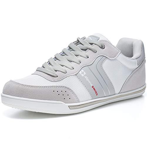 Alpine Swiss Liam Mens Fashion Sneakers Suede Trim Low Top Lace Up Tennis Shoes SLV 9 M US Silver