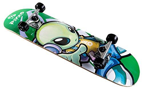 PiNAO Sports - Skateboard Nalu mit Alien-Design für Kinder, Jugendliche & Erwachsene, Einsteiger-Skateboard (11022) [7-schichtiges Ahornholz, Aluminium-Trucks mit Riser-Pad, High Rebound Rollen