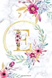 E: Monogram Notebook Letter e Initial alphabetical Journal for Writing And Notes Elegant Pink watercolor Floral Gold Marble Design (6x9) Pretty ... Diary Monogrammed Gifts for Women & Girls
