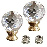 WOERFU 2-Pack Clear Faceted Crystal Orb Finial with Antique Brass Base(Crystal)