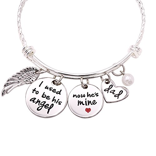 Melix HOME I Used to Be His Angel, Now He is Mine Bracelet Bangle, Memorial of Dad (Bracelet)