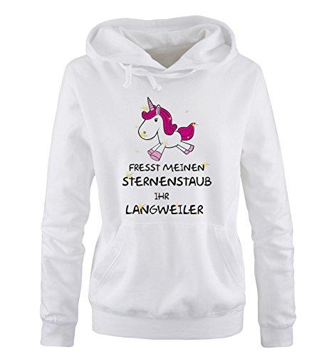 Comedy Shirts Fresst Meinen Sternenstaub Ihr Langweiler - Einhorn - Damen Hoodie - Weiss/Schwarz-Pink-Rosa-Gold Gr. S