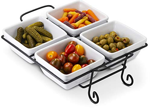 4-Piece Condiment Dish, Serving Set with Metal Rack, Ceramic Make, Great for Vegetables, Candies, Nuts, Dips